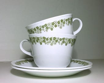 Corelle Spring Blossom Green Cups & Saucers Set of 2 / 1970s Corelle Livingware Spring Blossom Green Flat Cups and Saucers Set of 2