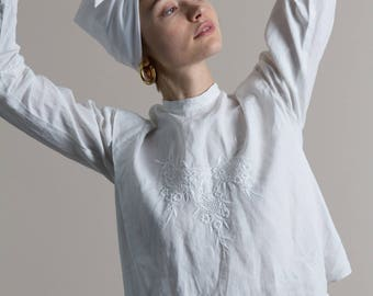 Edwardian White Cotton Embroidered Cropped Blouse | XS/S