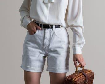 Vintage 90s White Denim High Waist Shorts | 4
