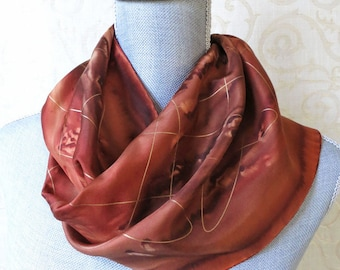 Silk Scarf Handpainted in Copper and Brown with Gold Highlights