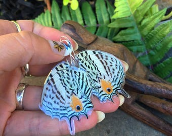 Iridescent Real Butterfly Wing Earrings, Aura, Unicorn Peacock Metallic, Bohemian Earrings, Boho Gypsy, Magical, Aura Crystal Rainbow BW116