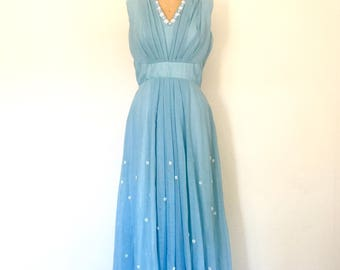 Vintage Pale Blue 1960s Dress Pleated Cotton Chiffon Sleeveless Floor-Length Dress M