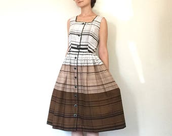 1950s Dress Striped Plaid Print Sleeveless Full Skirt Shirtdress Sun Dress XS