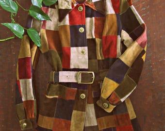 Vintage 60s suede patchwork jacket / Hippie Boho Folk multi color suede patch MOD coat