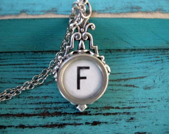 Typewriter Key Jewelry - Typewriter Necklace - Letter F - Typewriter Charm - Vintage Key