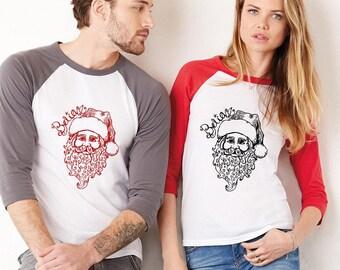 Santa Baseball Tee, Christmas Shirt, Unisex Baseball Tee Shirt, Holiday Graphic Tee Shirt, Santa Claus Shirt, Saint Nicholas,  XMAS Tshirt