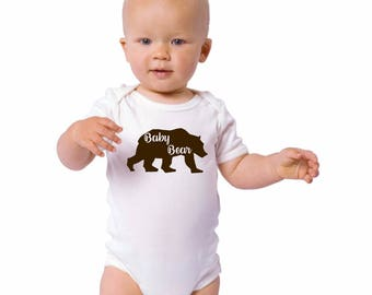 Baby Bear Shirts, Family Shirt Set, Baby Bodysuit, Cotton Infant Onepiece, Short Sleeved Graphic Tee, New Baby Gift, Bear Family Shower Gift