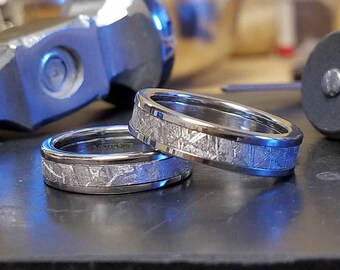 Meteorite Ring Set with Gibeon Meteorite and Cobalt - USA Made