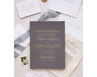 Foil Wedding Invitation - Duke Design- Foil, Letterpress, Monogram,Calligraphy,Traditional, Elegant, Simple, Classic, Script, Custom, Formal