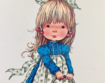 Vintage Cute Big Eyed Girl Postcard