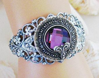 Silver Jewelry, Silver Bracelet Cuff, Purple Bracelet, Bracelet Cuff, Cuff Bracelets, Purple Jewelry, Silver Bracelet, Handmade, B229