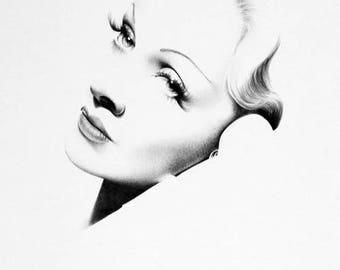 Marlene Dietrich Print Pencil Drawing Fine Art Portrait Signed by the Artist