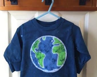 Kids Earth Day Shirt, Blue Earth Kids Shirt, Boys Earth Shirt, Girls Earth Shirt, Batik Earth Day Shirt, Toddler Earth Day Shirt