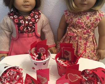 Valentine Bucket Party Favors, 18 in doll scale