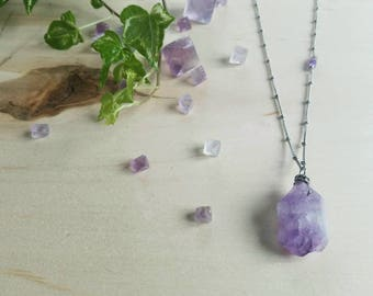 Raw Chunky Amethyst Nugget Layering Necklaces / Stainless Steel