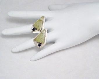 Sterling Silver abstract art earrings lime stone onyx gem design dangle drop chandelier post stud womens fine jewelry