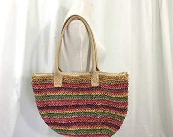 Vintage 1980s Woven Rainbow Striped Market Beach Purse Large