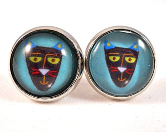Tribal Cat Earrings, Cat Stud Earrings, Cat Lover Gift, Tribal Masks Earrings, Blue Cat Earrings, Big Round Earrings, Lead Free, Nickel Free