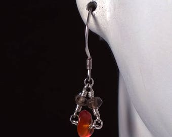 Sterling Silver Earrings with Smokey Quartz and Baltic Amber