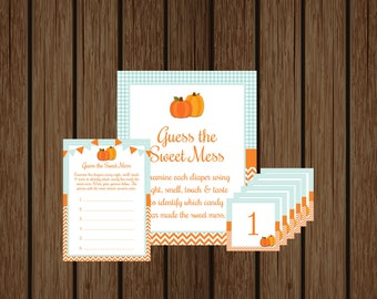 Pumpkin Guess The Sweet Mess Game, Diaper Mess Game, Diaper Candy Game, Boy Baby Shower, Fall Baby Shower, Instant Download