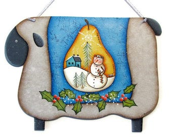 Primitive Sheep, Pear, Holly,  Handpainted Wood Plaque Sign,  Hand Painted Prim Home Decor, Wall Art, Tole Decorative Painting