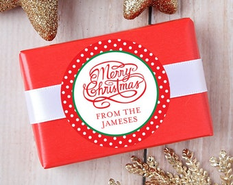 Christmas Stickers - Personalized Gift Labels - Merry Christmas Calligraphy - Sheet of 12 or 24