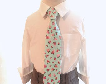 Boys Ties watermelon tie Watermelon Necktie boys neckties mint green Coral Pink watercolors fabric Watermelon Print tie and suspenders Boy