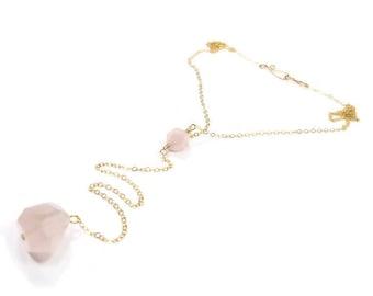 Rose Quartz 14k Yellow Gold Fill Lariat Necklace