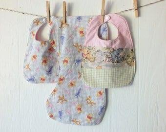 Winnie the Pooh Bib & Burp Cloth Set FREE SHIPPING - pink