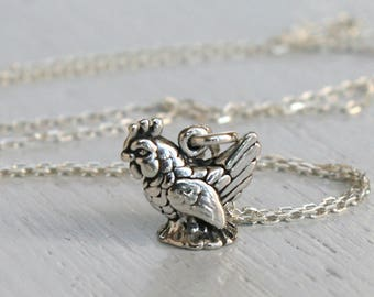 Sterling Silver Rooster Necklace