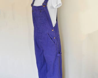 Purple Small Bib OVERALL Pants - Violet Dyed Upcycled Big Mac Cotton Denim Overall - Adult Mens Women's Size Small (32 W x 31 L)