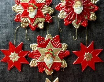 6 Mini Tree German Santa Scrap & Dresden Ornaments-Vintage Victorian Look Handmade-German Dresdens, German Scrap Santa Faces