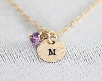 Personalized Dainty Birthstone Necklace, Gift for Mom, Tiny Gold Initial Disc Charms, Mothers Jewelry