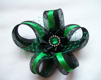 Black and Emerald Green Sinamay Loop Feather & Crystal Mia Mini Fascinator Hair Clip Wedding Ascot - Made to Order