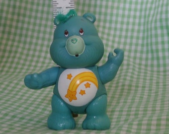 Vintage Wish Bear Care Bear Posable Figure, A.G.C. 1983 1980s Era Cuteness Blue with Shooting Star