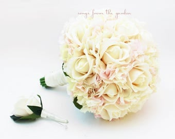 Blush and Ivory Bridal Bouquet + Groom's Boutonniere - Real Touch Ivory Roses and Real Touch Blush Hydrangea