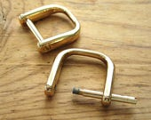 "Gold Plated D Rings 3/4"" Screw In Replacement Purse Strap or Knife Dangler Hardware - Set of 2"
