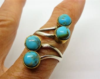 Turquoise Ring Genuine Turquoise Gemstone Two Tone Spiral Twist Wrap Ring in Solid Sterling Silver Adjustable Size 6 to 8