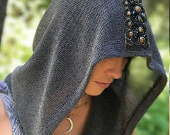 """NEW The """"ChainMail"""" Cowl Hood with Beaded Applique Trim by Opal Moon Designs (Unisex/One Size)"""