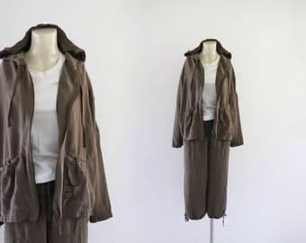 2 pc mink silk pants + jacket / m