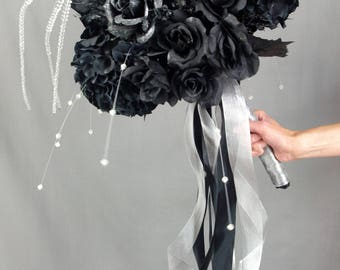 Halloween Wedding Bouquet, Black and Silver Wedding Bouquet, Black Bridal Bouquet, Goth Wedding Bouquet, Halloween Bouquet