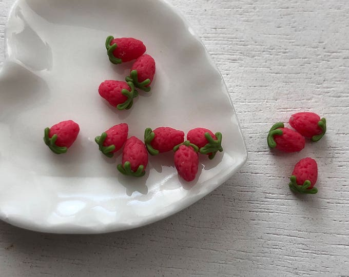 Featured listing image: Miniature Strawberries, 12 Piece Set,  Dollhouse Miniature Food, 1:12 Scale, Dollhouse Accessories, Decor, Mini Fruit, Pretend Food