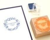 Custom Wedding Stamp for Invitations, Blackberry Wreath, Summer Wedding, Floral Wreath Stamp, Wedding Favor Stamp, Initial Stamp, Name Stamp
