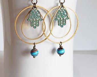 Hamsa earrings - hand of fatima earrings - turquoise blue - protection - evil eye - boho hamsa hoop earrings - good karma - bohemian jewelry