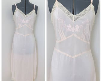 Vintage 1940s Pink Rayon Slip - Embroidered Bodice with Ivory Lace Lingerie - Bust 36 by Dutchman