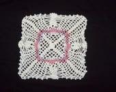Square Pineapple Doily Handmade Crochet Cotton Doily White  Lilac  Pink
