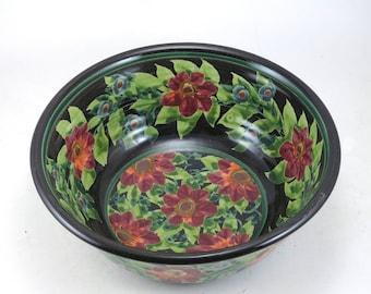 "Ceramic Serving Bowl - 7"" Black Porcelain Serving Bowl with Red Flowers - Handmade One of a Kind"