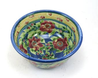 Handmade Cereal Bowl - Floral Ceramic Pottery Bowl with Blue Background and Flowers - OOAK