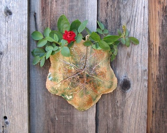 Clay Leaf Wall Planter - Succulent or Plant Holder Made with a Real Hollyhock Leaf - Hanging Ceramic Wall Pocket - Unique Gardener Gift