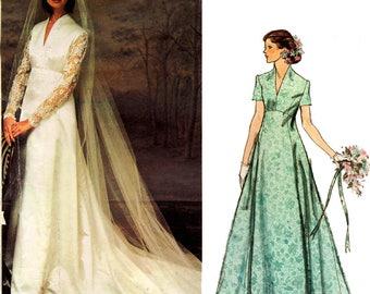 "Vogue Couturier Design BELINDA BELLVILLE Empire Wedding Dress Veil & Cap 70s Vintage Sewing Pattern Size 16 Bust 38"" UNCUT Factory Folded"